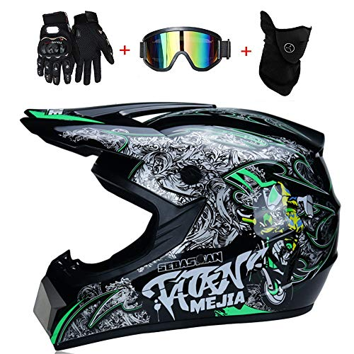 CyclingBoy Motorradhelme für Erwachsene und Kinder, Motocross, ATV-Roller, ATV-Helme, DOT-Zertifizierung (kostenlose Okulare + Handschuhe + Masken), 4 Modelle von Motorradhelmen (S, M, L, XL),XL