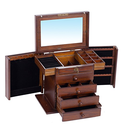 Holz Schmuckkästen mit 4 Schubladen und Spiegel Schmuckschatulle Aufbewahrung Schmuckkoffer 31x21x38cm (BROWN)