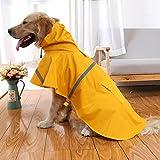 Kismaple Haustier Hund Regenmantel Leichtes Tuch mit reflektierenden Sicherheitsstreifen Hund Regenmantel für große / mittlere / kleine Hund Jacke (L(Chest:64-72cm;Neck:39-44cm), Orange)