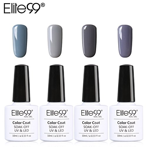 Lot Vernis Semi Permanent Elite99-4pcs Vernis à Ongles Gris UV LED Soak Off pour Kit Manucure&Nail Art 10ml-KIT10