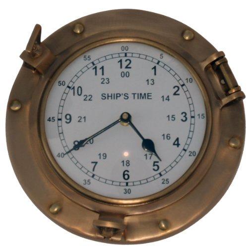 Nagina International Antique Brass Ship Porthole Clock 9