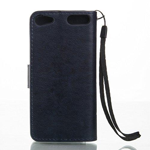 iPhone Case Cover Schmetterlings-Blumen Geprägte Fall Retro Premium-PU-Leder-Kasten-Schlag-Standplatz-Fall Magnetic-Mappen-Kasten mit Handschlaufe Cash Card Slots für iPod-Note 6 ( Color : Purple , Si Blue