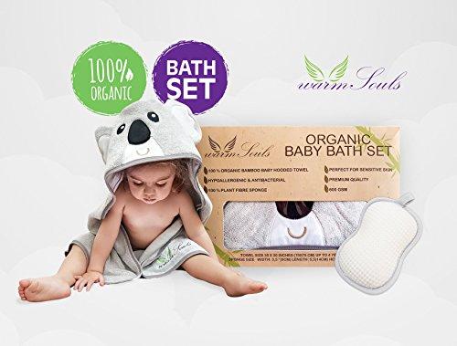 Baby KapuzenHandtuch Bambus ultra weicher Koalabär + 100% natürlicher pflanzlicher Faserschwamm, BIO-BAD-SET-Premium-Qualität 600GSM Dicke,Große Größe,für Baby-Mädchen und Jungen Luxus Geschenkset