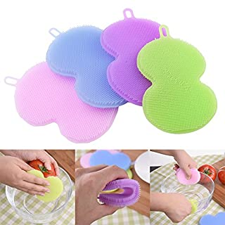 AIHOME™ Multi-function Eco-Friendly Dish Bowl Cleaning Creative Brush Heat-resistant Mat Gourd Style Antibacterial Soft Silicone Vegetable Cleaner Fruit Washer Scouring Pad Pot Pan Wash Brushes Best Tool 4 Colors