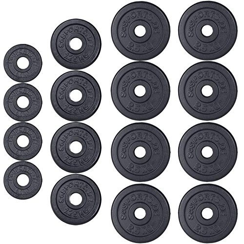 ScSPORTS 27 kg Hantelscheiben-Set Gusseisen 4 x 0,5 kg + 4 x 1,25 kg + 8 x 2,5 kg Gewichte 30/31 mm Bohrung