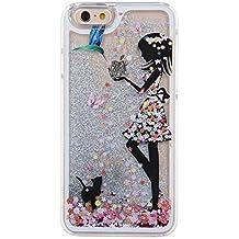 Voguecase® Para Apple iPhone 5C ,Líquido Dinámico Arena Movediza Stars Funda Carcasa Duro Tapa Case Cover (Plata-vestido colorido chica) + Gratis aguja de la pantalla stylus universales