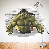 JULYSTAR Dessin animé Avengers Hulk Peel Sticker Mural pour Enfants Chambres Effet 3D Stickers Muraux Décor À La Maison Affiche 3D Effet Décor À La Maison Garçon Cadeau