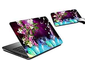 meSleep Floral Laptop Skin And Mouse Pad