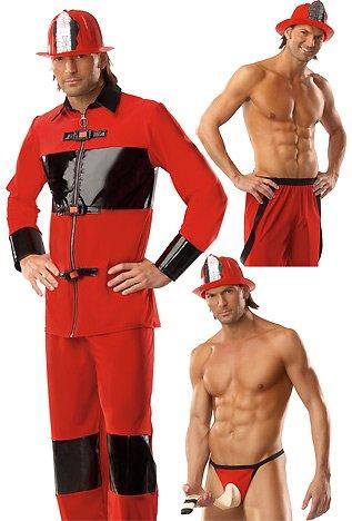 Coquette Sexy Feuerwehrmann Kostüm - Rot/Schwarz (L/XL)