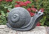 Steinfigur Schnecke - Schiefergrau, Deko Figur Garten Stein frostsicher