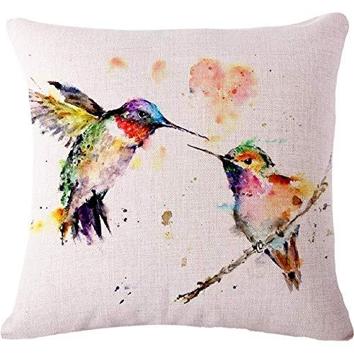 Hectwya Oil Painting Bird Hummingbird Throw Pillow Case Cushion Cover Decorative Cotton Blend Linen Pillowcase for Sofa 18