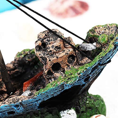 UEETEK Aquarium Ornamente Dekoration Wrack Schiff Fish Tank Zubehör Harz für Garnelen Cichild - 5
