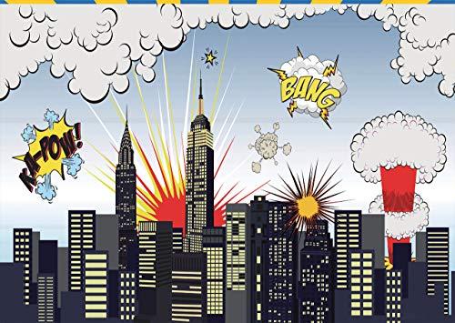 AIIKES 7x5FT/2,1Mx1,5M Fotografie Hintergrund Superheld Stadt Thema Für Fotografie Hintergrund Studio Foto Requisiten Kinder Baby Geburtstags Party Dekoration 95-88