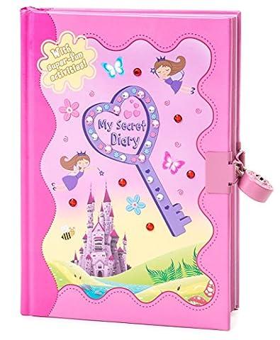 Pretty Rose Fée, papillons et château de fille Journal intime avec Puzzles et activités | verrouillable Strass Agenda avec cadenas et clés | Gloryland Store