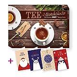 itenga Set Tee Adventskalender gefüllt mit 24 köstlichen Tee Spezialitäten - Motiv Modern Weihnachtlich + 4 Weihnachtkarten