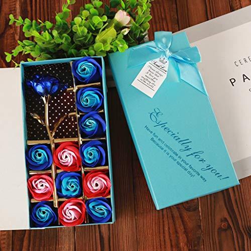 Hunpta@ Flowers,13Pcs handgemachte Duftbadeseife Rosen-Knospe Blütenblätter Hochzeits -Bevorzugung roseflower in Geschenkbox Einzigartiges Geschenk für Mama (Blau)