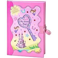 Diario de secretos color rosa con hadas, mariposas y castillo; incluye acertijos y actividades, además de candado y llave, de Gloryland Store