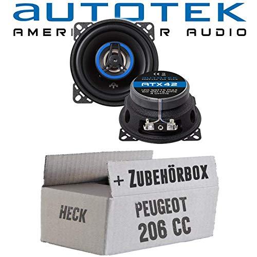 Lautsprecher Boxen Autotek ATX-42   2-Wege 10cm Koax Lautsprecher 100mm Auto Einbauzubehör - Einbauset für Peugeot 206 CC Heck - JUST SOUND best choice for caraudio