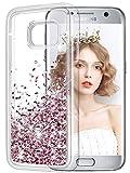 wlooo Hülle kompatibel mit Galaxy S7, Galaxy S7 Hülle, Glitzer Flüssig Treibsand Handyhülle Glitter Quicksand Transparent Silikon Weich TPU Bumper Original Schutzhülle Case Cover