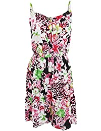 Universal Textiles Womens/Ladies Tropical Flower and Leopard Print Short Length Strappy Summer Dress