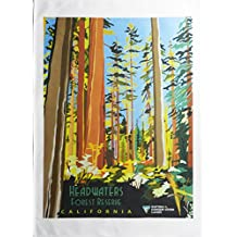 Headwaters Californian Forest Reserve – Retro Style Travel Poster Large Cotton Tea Towel