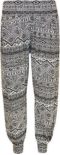 WearAll - Damen drucken Ganzkörper Elastische Taille Lange Damen Haremshose Hose - Klein Aztec - 40 bis 42