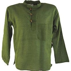 Guru-Shop, Camisa Nepal Fisher Goa Hippie, Verde Musgo, Algodón, Tamaño:L, Camisas de Hombre