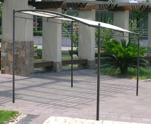 Gazebo pergola da muro metri 3x2,5 in ferro e metallo nero telo ecrù da giardino bar terrazzo piscina per esterno trattamento antiruggine