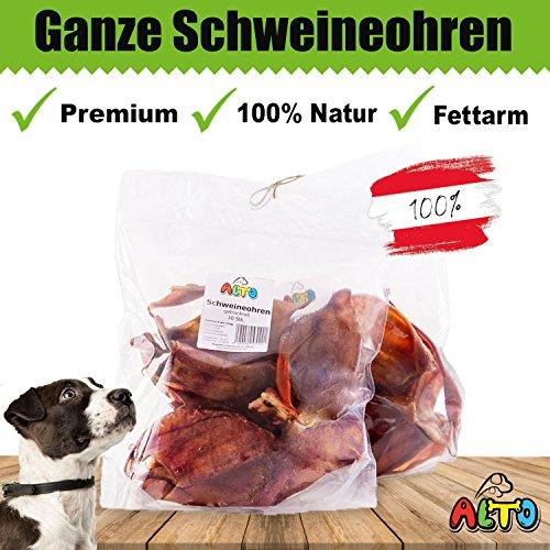 Alto-Petfood - 1200g ganze Schweine-Ohren | Natürlich getrocknet | ohne Lockstoffe | wiederverschließbarer Beutel / Naturkauartikel, Hundeleckerli, Kausnack, Hundesnack, Hunde Kauartikel, Schwein, Ohren, Schweineohren, Schweinsohren, SO20 (Natürliche 1200)