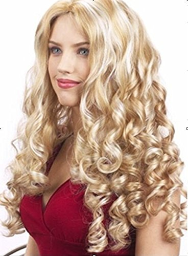 Cheveux Perruques Cosplay Cap Femme Or Big Wave mode Long Sexy longue
