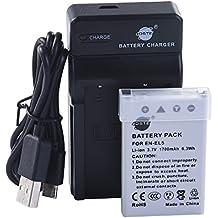 DSTE EN-EL5 Li-ion Batería Traje y cargador micro USB para Nikon Coolpix P510 P520 P530 P5100 P6000 S10 P3 P4 P80 P90 P100 P500