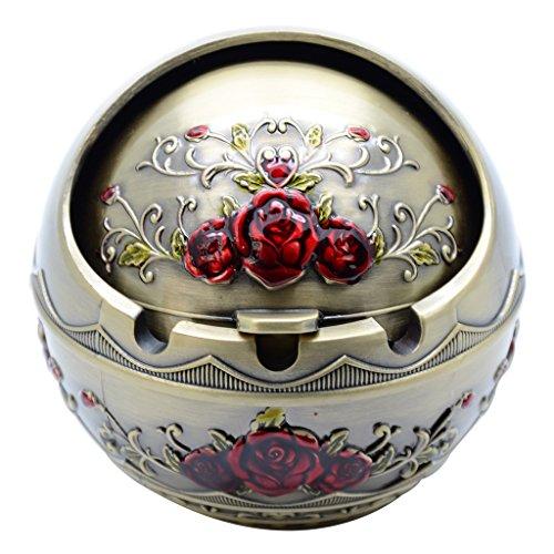 TOWOMO Aschenbecher für Zigaretten, rund, aus Legierung, geruchsneutral (Rosenmotiv) Rose Rouge,...