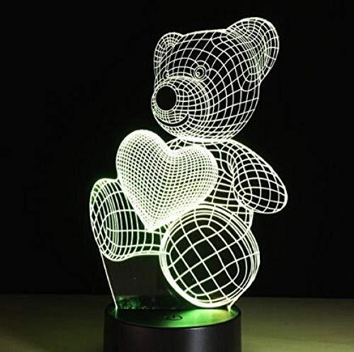 Luz De La Noche 3D Touch Led Corazón Globo Oso Lámpara Dormitorio De Los Niños Luz De Noche Regalo De Los Niños @ Bear_2