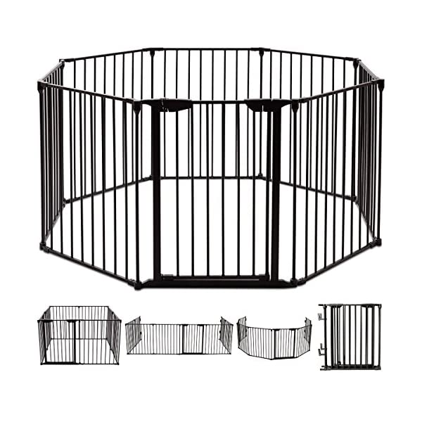 COSTWAY 6&8 Panel Baby Playpen Metal Foldable Design Multiple Use for Pet Fence, Room Divider, Yard Barrie, Fire Guard (8 Panels, Black) Costway 【Two installation modes】Our item have new 2 installation modes that it can be fully spliced as a circle or 2 sides unfurled to mounting on the wall. It can change flexibly according to your needs. It has the advantages of little space occupation, one object with multifunction, simple structure, and light weight. 【Safety door panel design】We have upgraded our door panel entirely to makes it safer. Different from the traditional straight opening door panel, our door panel has a special design that it needs to lift up while holding the switch to open it. 【Nail wall plastic parts set】Coming with a set of nail wall plastic parts, this set can meet your need to fix the item on the wall. When you want to change the installation mode, you can also leave these parts on the wall and only remove the item which will make your next installation more convenient. 1
