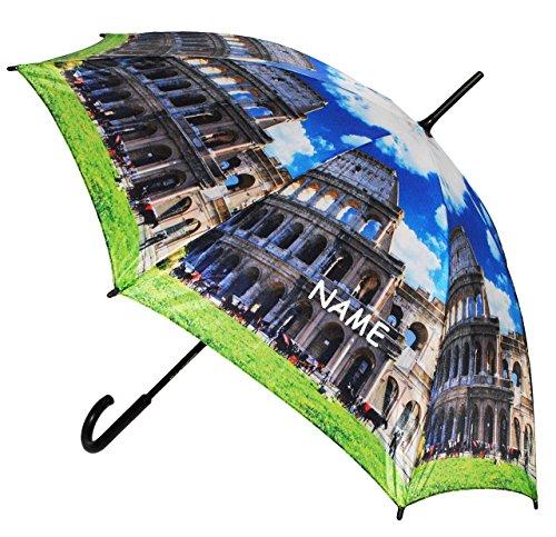 "großer XL Regenschirm - "" Rom - Italien / Kolosseum "" - incl. Name - ø 110 cm - Schirm - Stockschirm für - Damen - Herren / Erwachsene - Frauen / Partnerschirm - groß / sturmfest - einfarbige blaue - Regenschirme"