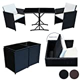 SVITA Poly Rattan Sitzgruppe Essgruppe Set Farbwahl - Cube Sofa-Garnitur Gartenmöbel Lounge Braun Oder Schwarz (Schwarz)