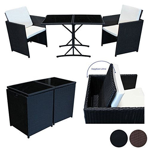 SVITA Poly Rattan Sitzgruppe Essgruppe Set Farbwahl - Cube Sofa-Garnitur Gartenmöbel Lounge Braun...