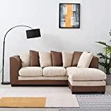 Anaelle Panana Canapé d'angle Sofa Moderne en Chenille + PU Cuir 4 Places pour Salon, Bureau (Brun+Beige)