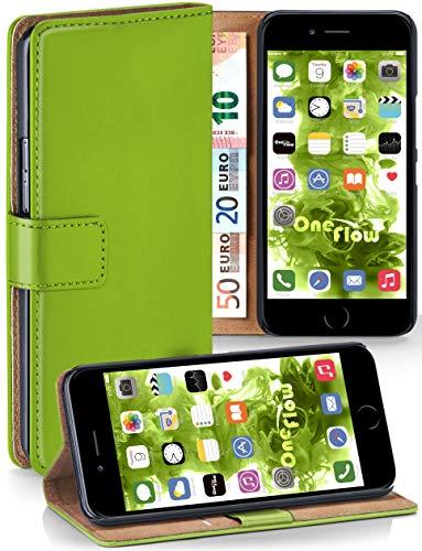moex® Booklet mit Flip Funktion [360 Grad Voll-Schutz] für iPhone 7 / iPhone 8 | Geldfach und Kartenfach + Stand-Funktion und Magnet-Verschluss, Grün -