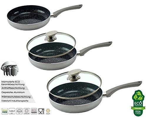 5 tlg. Pfannenset Silber mit Deckel Bratpfannen Set Grillpfanne Pfanne Marmor Keramik Beschichtung