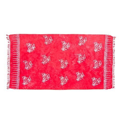 MANUMAR Damen Pareo blickdicht, Sarong Strandtuch in rot mit Schmetterling Motiv, 155x115cm, Handtuch Sommer Kleid im Hippie Look, für Sauna Hamam Lunghi Bikini Coverup Strandkleid - Red Sari