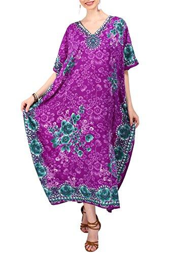 Miss Lavish London Frauen Damen Kaftan Tunika Kimono freie Größe Lange Maxi Party Kleid für Loungewear Urlaub Nachtwäsche Strand jeden Tag Kleider Lila EU 52-56