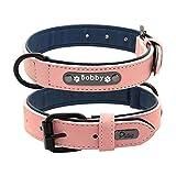 GWM Hundehalsband, Leder, weich, verstellbar, gepolstert, personalisierbar, personalisierbar, 25-62 cm, 2, XXL
