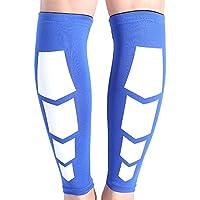 Zhuhaimei,Emparejados Seguridad para el Deporte Pierna de Pantorrilla Mangas de compresión Protector Soporte Envoltura para Guardias Fútbol Fútbol Ciclismo En Marcha(Color:Azul,Size:L)