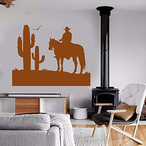 guijiumai Decalcomania della Parete del Vinile Art Home Decor Decalcomania della Parete Cowboy Wild West Cactus Boy Room Decorazione murale Rimovibile Poster Y 7 42X50 CM