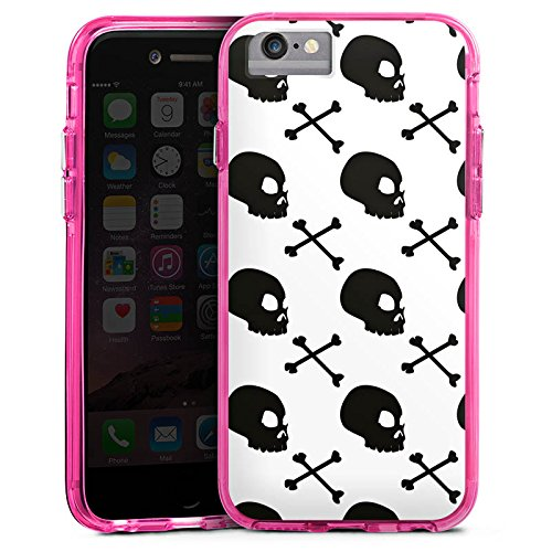 Apple iPhone 6 Bumper Hülle Bumper Case Glitzer Hülle Skulls Muster Pattern Bumper Case transparent pink