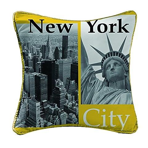 Douceur d'Intérieur Dessin Place Coussin Microfibre/Polyester Imprimée New York Jaune