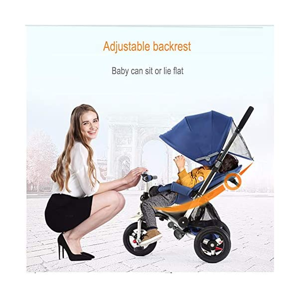GSDZSY - 3 IN 1 Children Kids Tricycle, Seat Adjustable, Baby Can Sit Or Lie Flat, Push Rod Can Control The Direction, Rubber Wheel, 1-6 Years Old GSDZSY ❀ Material: High carbon steel + ABS + rubber wheel, suitable for children from 6 months to 6 years old, maximum load 30 kg ❀ Features: The push rod can be adjusted in height, the seat can be rotated 360, the backrest can be adjusted, the baby can sit or lie flat; the adjustable umbrella can be used for different weather conditions ❀ Performance: high carbon steel frame, strong and strong bearing capacity; rubber wheel suitable for all kinds of road conditions, good shock absorption, seat with breathable fabric, baby ride more comfortable 3