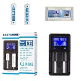 Universal Battery Charger & 18650 Button Top Battery, EASTSHINE S2 LCD Display Speedy Smart Charger for Rechargeable Batteries Ni-MH Ni-Cd AA AAA Li-ion LiFePO4 IMR 10440 14500 16340 18650 26650