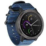Fintie Armband für Garmin Vivoactive 3 / Garmin Vivoactive 3 Music / Forerunner 645 Music - Premium Nylon atmungsaktive Uhrenarmband verstellbares Ersatzband mit Edelstahlschnallen,